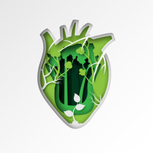 Green Ecology And Environment Conservation Sustainable Resource.Paper Art Of Green Heart Shape With Trees And Forest Vector Illustration.