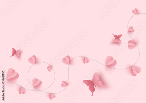 Paper art of happy valentine's day and love vector background and poster design with origami heart and butterfly Canvas Print