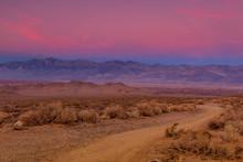 Gravel Road At Sunset In Calif...