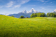 Leinwandbild Motiv Idyllic landscape in the Alps with blooming meadows and snowcapped mountain peaks in springtime