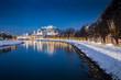 Leinwanddruck Bild Salzburg old town at twilight in winter, Austria