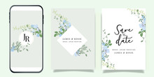 Summer Flower Wedding Invitation Set, Floral Invite Thank You, Rsvp Modern Card Design In Blue Flower And Leaf Greenery  Branches With Blue Background Decorative Vector Elegant Rustic Template