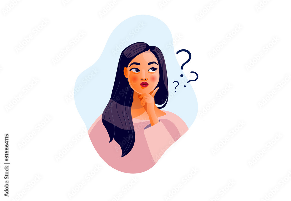 Fototapeta Thinking girl. Beautiful face, doubts, problems, thoughts, emotions. Curious woman questioning, question mark. Vector illustration