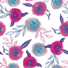 Seamless Flower Pink Rose Patt...