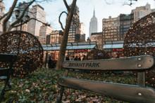 Bryant Park Bench In Autumn