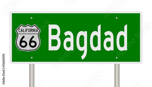 Rendering of a green 3d highway sign for Bagdad California on Route 66 Billede på lærred