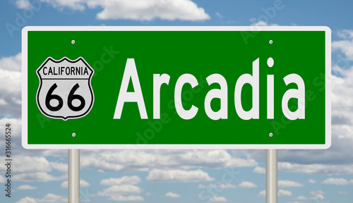 Rendering of a green 3d highway sign for Arcadia California on Route 66 Canvas Print
