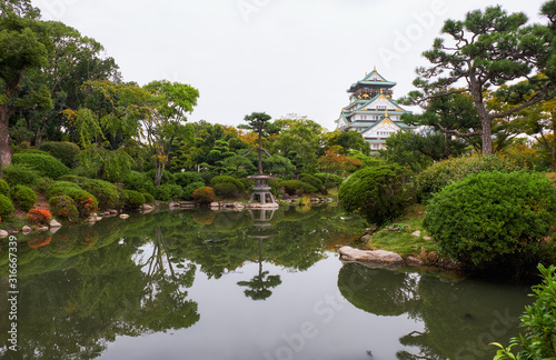 The traditional Japanese garden in the inner bailey of Osaka Castle Wallpaper Mural