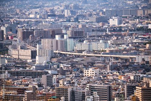 Fotomural The birds eye view of Osaka metropolis. Japan