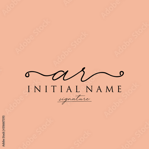 Initial letter AR Signature handwriting Logo Vector Canvas Print