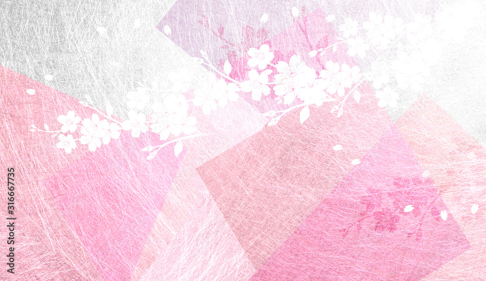 Fototapeta 透明感のある和紙を背景にした桜