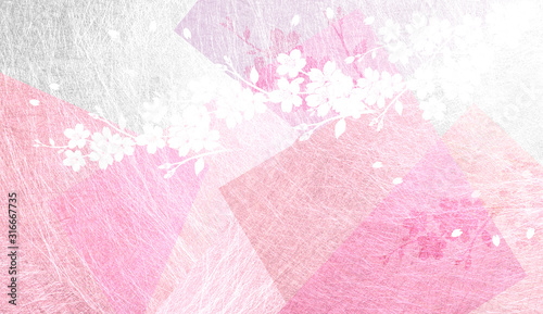 Photo 透明感のある和紙を背景にした桜