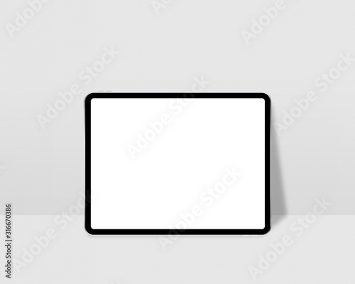 Digital tablet with empty screen. Tablet mockup on minimal background. Modern tablet display mockup scene. Photo mockup with clipping path. Fotobehang