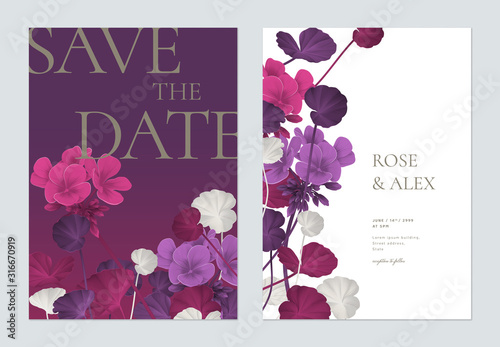Obraz Floral wedding invitation card template design, Pelargonium zonale flowers with leaves in purple tones - fototapety do salonu