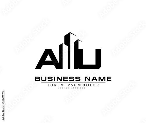 A U AU Initial building logo concept Canvas Print