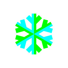Blue And Green Snowflake Symbol Vector On White Background.