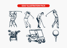 Golf Illustration Vector Element Man Cart Bag Ball In Pack