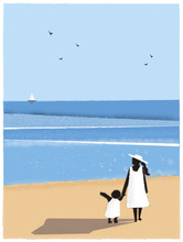 Vector Illustration Of Spring Or Summer Beach Background. Minimalist Image Of Mother And Kid  Walking At The Beach.Postcard Of Family Activities In Spring Or Summer.Image With Noise And Grainy Texture