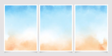 Abstract Loose Blue And Sand Beach Watercolor Background For Wedding Invitation Card Template Layout 5x7 Vertical