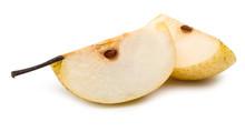 Ripe Honey Pear Slice Isolated...