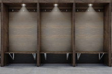 Empty Wooden Cubicles With A B...