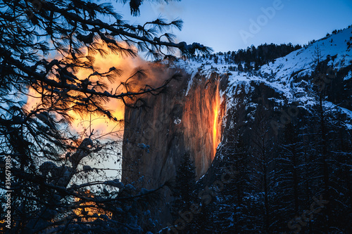 Yosemite Firefall at Sunset Canvas Print