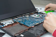 laptop repair. disassembled laptop and wizard's hand
