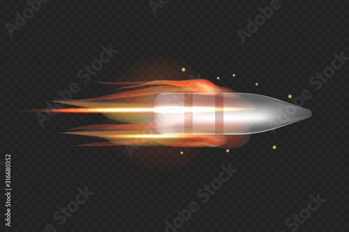 Stampa su Tela Realistic flying bullet with fire trace