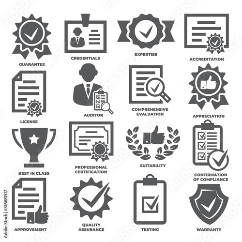 Approvement and accreditation icons set on white background Canvas Print