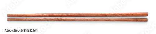 Wooden chopsticks isolated on white background. Top view. Canvas Print