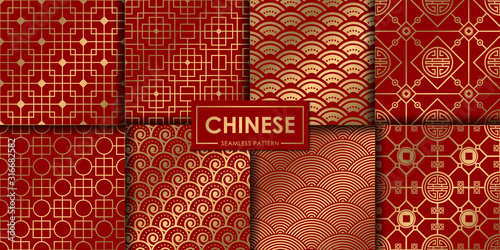 Fototapeta Golden chinese pattern collection, Abstract background, Decorative wallpaper. obraz