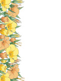A branch of eustoma. Close-up. Place for text. Color image of eustoma branches. Design element. Vector image.