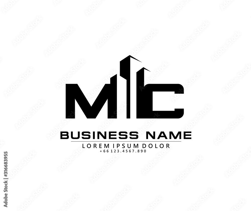 Fototapeta M C MC Initial building logo concept