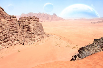 landscape with sand desert, rock and planets in sky