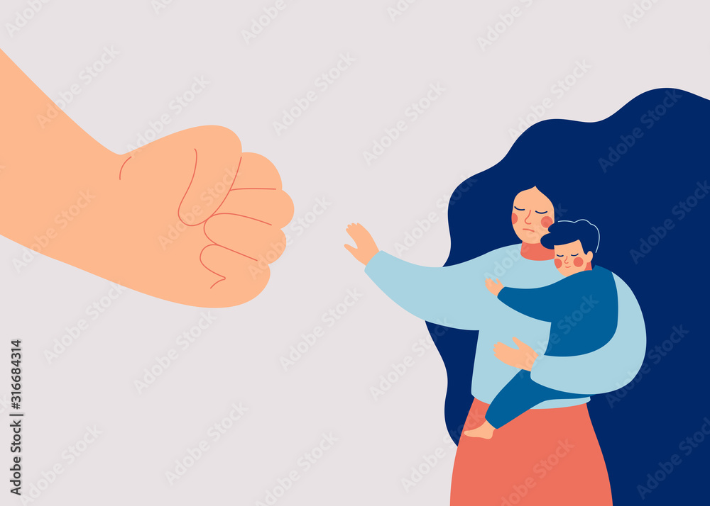 Fototapeta Strong mother protects her child from danger. Stop violence against children and domestic violence. A big fist threatens a woman and her baby. Vector illustration