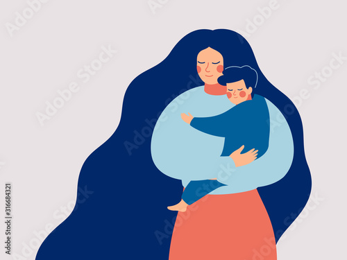 Valokuva Young mother holds her son with care and love
