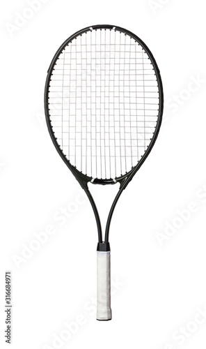 Canvas Print Black tennis racket isolated on white background