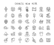 Chinese New Year Line Hand Dra...