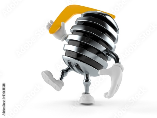 Платно Microphone character throwing boomerang