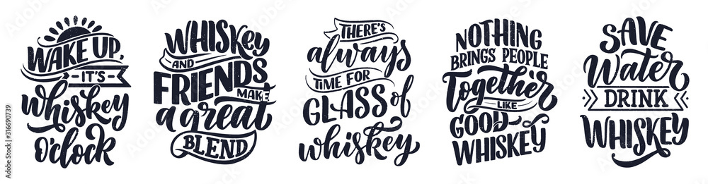 Fototapeta Set with lettering quotes about whiskey in vintage style. Calligraphic posters for t shirt print. Hand Drawn slogans for pub or bar menu design. Vector