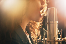 Happy Female Singer Recording ...
