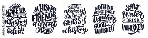 Fototapeta Set with lettering quotes about whiskey in vintage style. Calligraphic posters for t shirt print. Hand Drawn slogans for pub or bar menu design. Vector obraz
