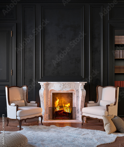 Photographie Classic black interior with fireplace, armchairs, moldings, wall pannel, carpet, fur