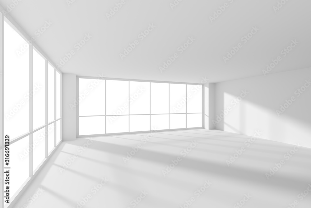 Fototapeta White empty business office room with sun light from large windows.