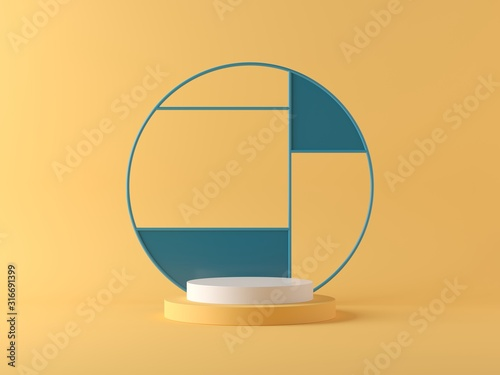 Leinwand Poster Abstract background, mock up scene geometry shape podium for product display