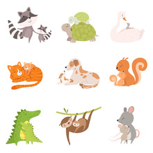 Cartoon Animal Mother And Her Cub Vector Illustrations Set