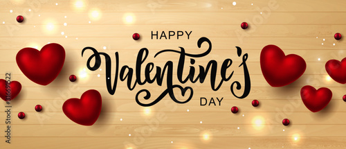 Foto Happy Valentine's day text, hand lettering typography poster