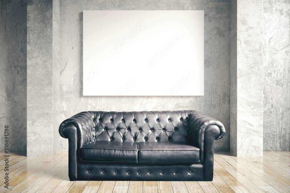Fototapeta Luxuri black leather sofa and blank poster i