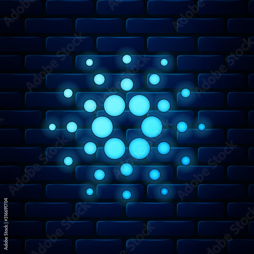 Glowing neon Cryptocurrency coin Cardano ADA icon isolated on brick wall background Wallpaper Mural