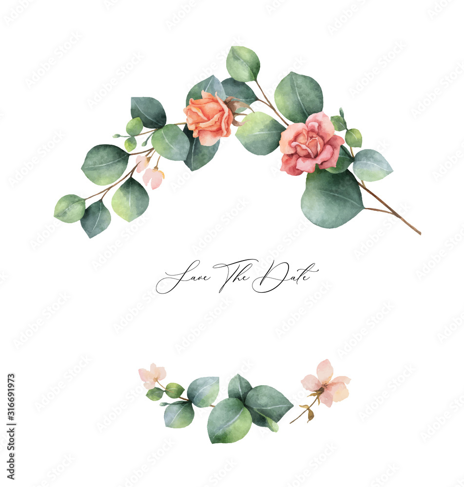 Fototapeta Watercolor vector hand painted wreath with green eucalyptus leaves and flowers.